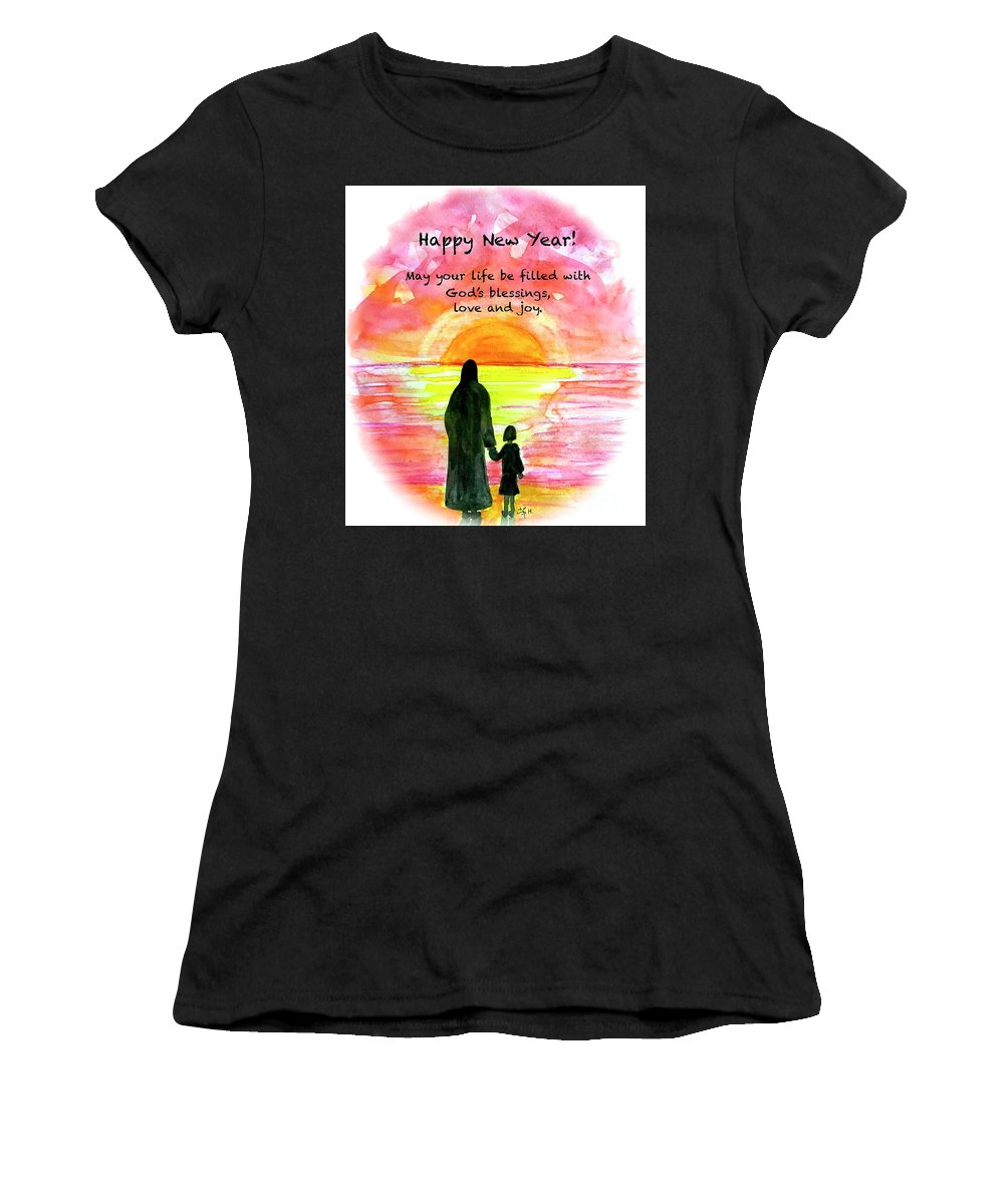 Happy New Year! Blessings Women's T-Shirt featuring the mixed media Happy New Year by Wonju Hulse