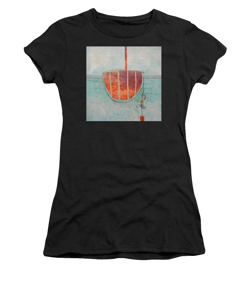 Contemporary Women's T-Shirt (Athletic Fit) featuring the mixed media Harbor 6 by Suzanne Siegel