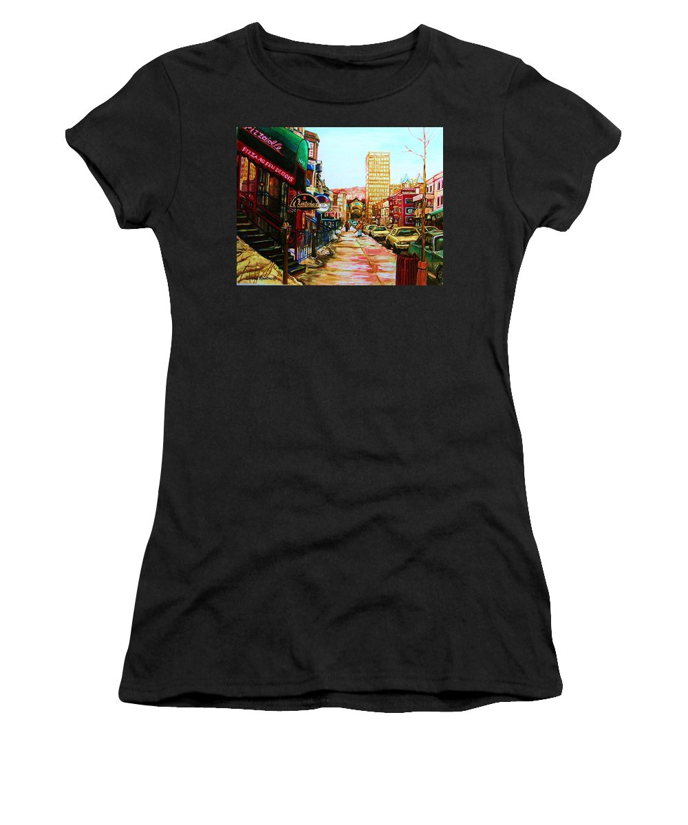 Hardrock Cafe Women's T-Shirt (Athletic Fit) featuring the painting Hard Rock Cafe by Carole Spandau