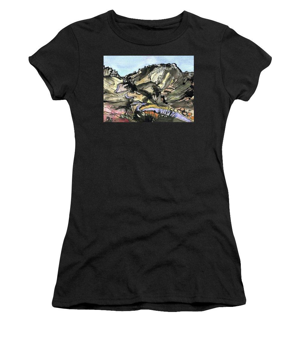 Hardknott Summit Road - English Lake District - Watercolour Painting - Mountain Scenery - Landscape Painting -elizabethafox Women's T-Shirt (Athletic Fit) featuring the painting Hardknott Summit Road by Elizabetha Fox