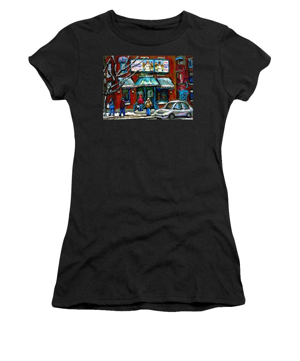 Original Montreal Paintings For Sale Women's T-Shirt featuring the painting Achetez Les Meilleurs Scenes De Rue Montreal Boulangerie St Viateur Original Montreal Street Scenes by Carole Spandau
