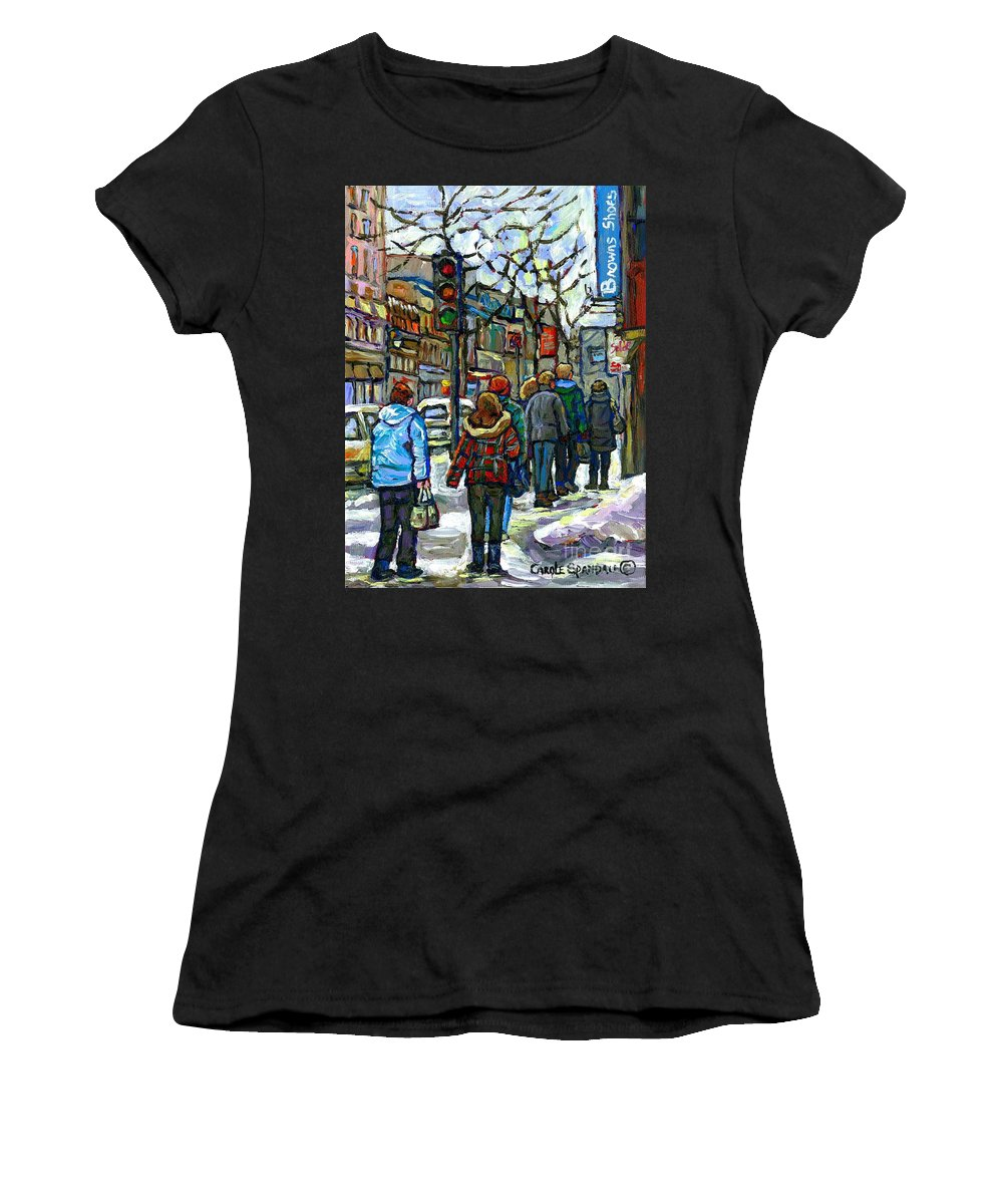 Original Montreal Paintings For Sale Women's T-Shirt featuring the painting Buy Best Original Canadian Winter Scene Art Downtown Montreal Paintings Achetez Scene De Rue Quebec by Carole Spandau