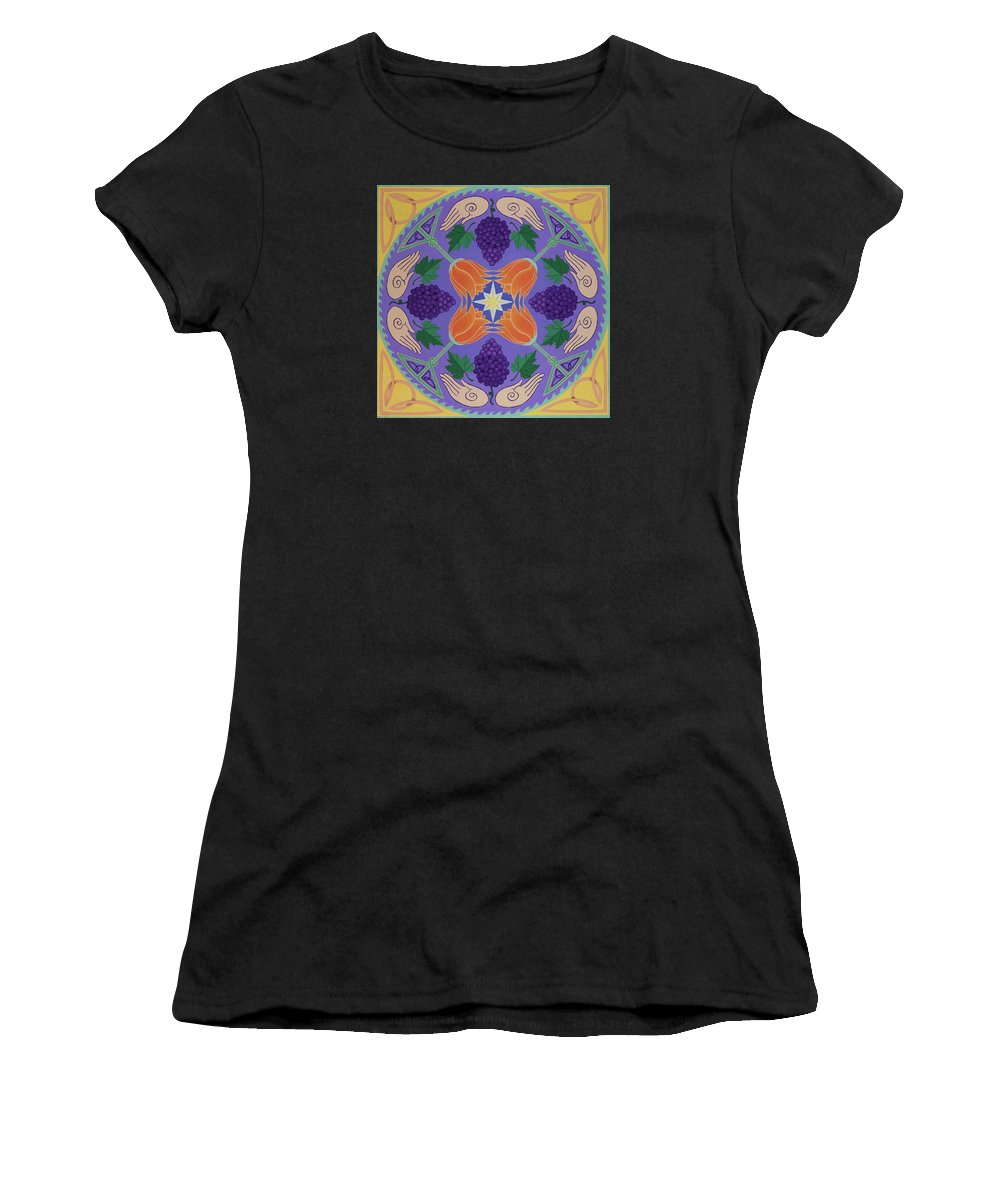 Grapes Women's T-Shirt (Athletic Fit) featuring the painting Harvest Grail by Karen MacKenzie