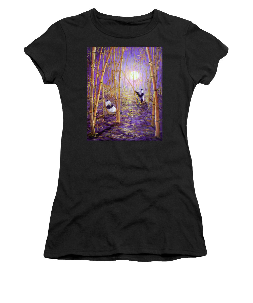 Painting Women's T-Shirt (Athletic Fit) featuring the painting Harvest Moon Pandas by Laura Iverson