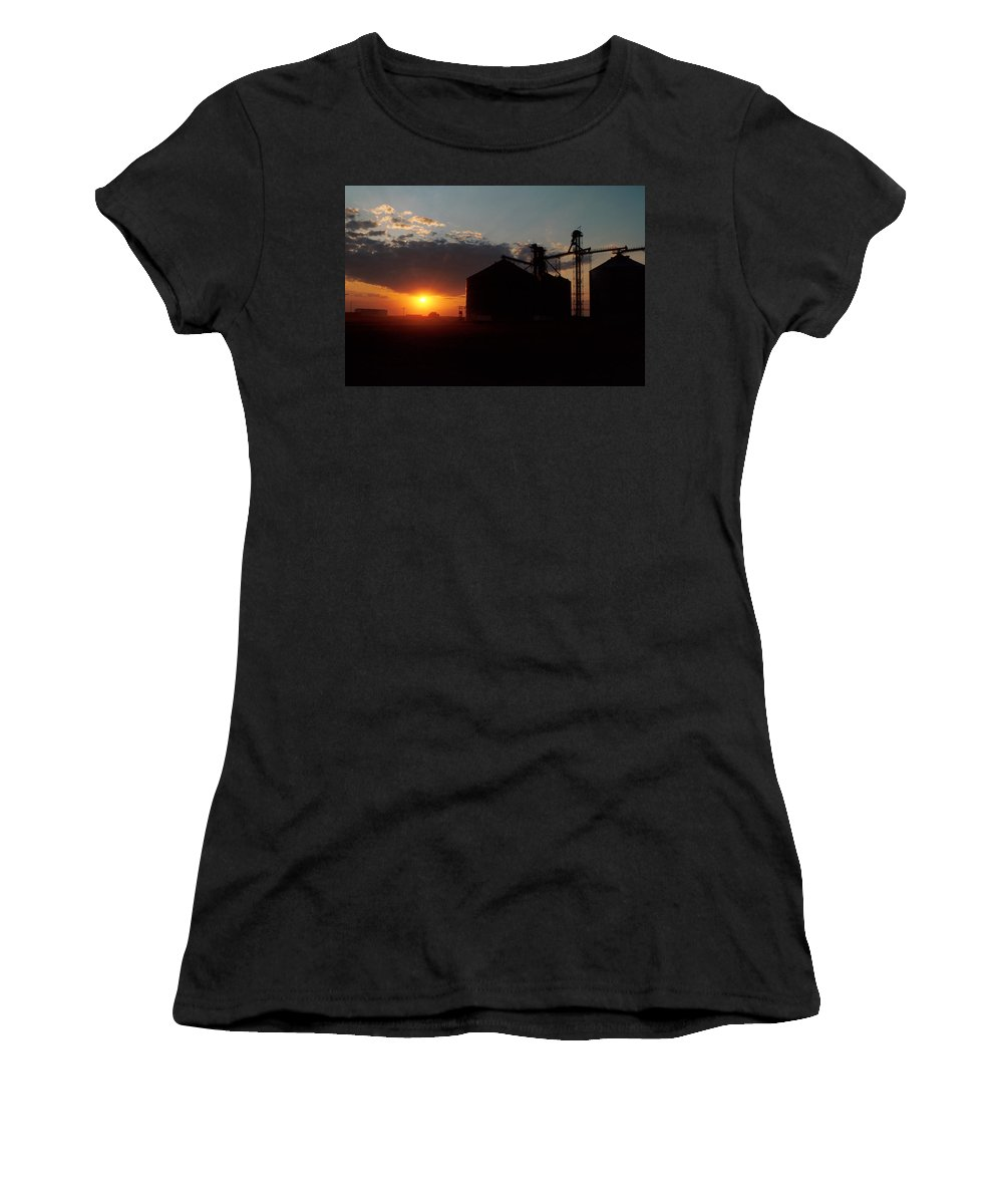 Harvest Women's T-Shirt featuring the photograph Harvest Sunset by Jerry McElroy