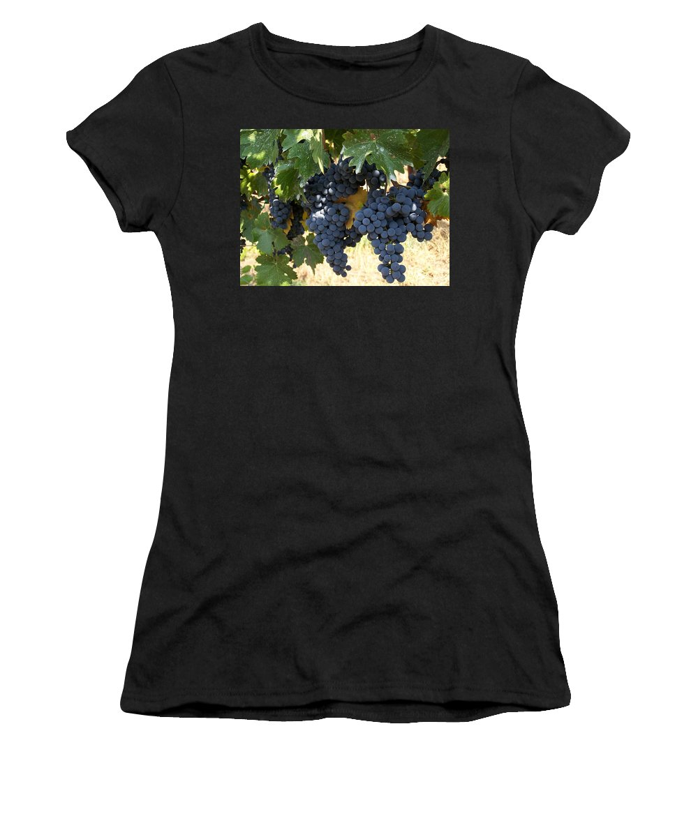 Grapes Women's T-Shirt (Athletic Fit) featuring the photograph Harvest Time by Gale Cochran-Smith