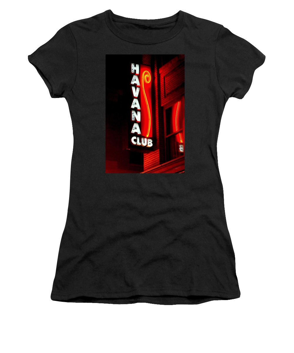 Havana Women's T-Shirt (Athletic Fit) featuring the photograph Havana Club At Night by John Wall