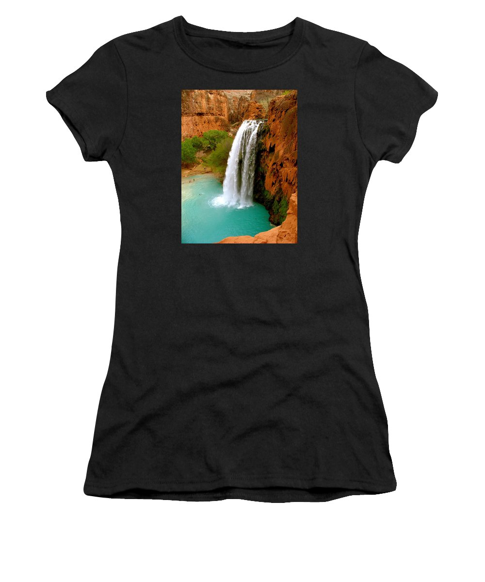 Waterfall Women's T-Shirt (Athletic Fit) featuring the photograph Havasu Falls by Brent Sisson