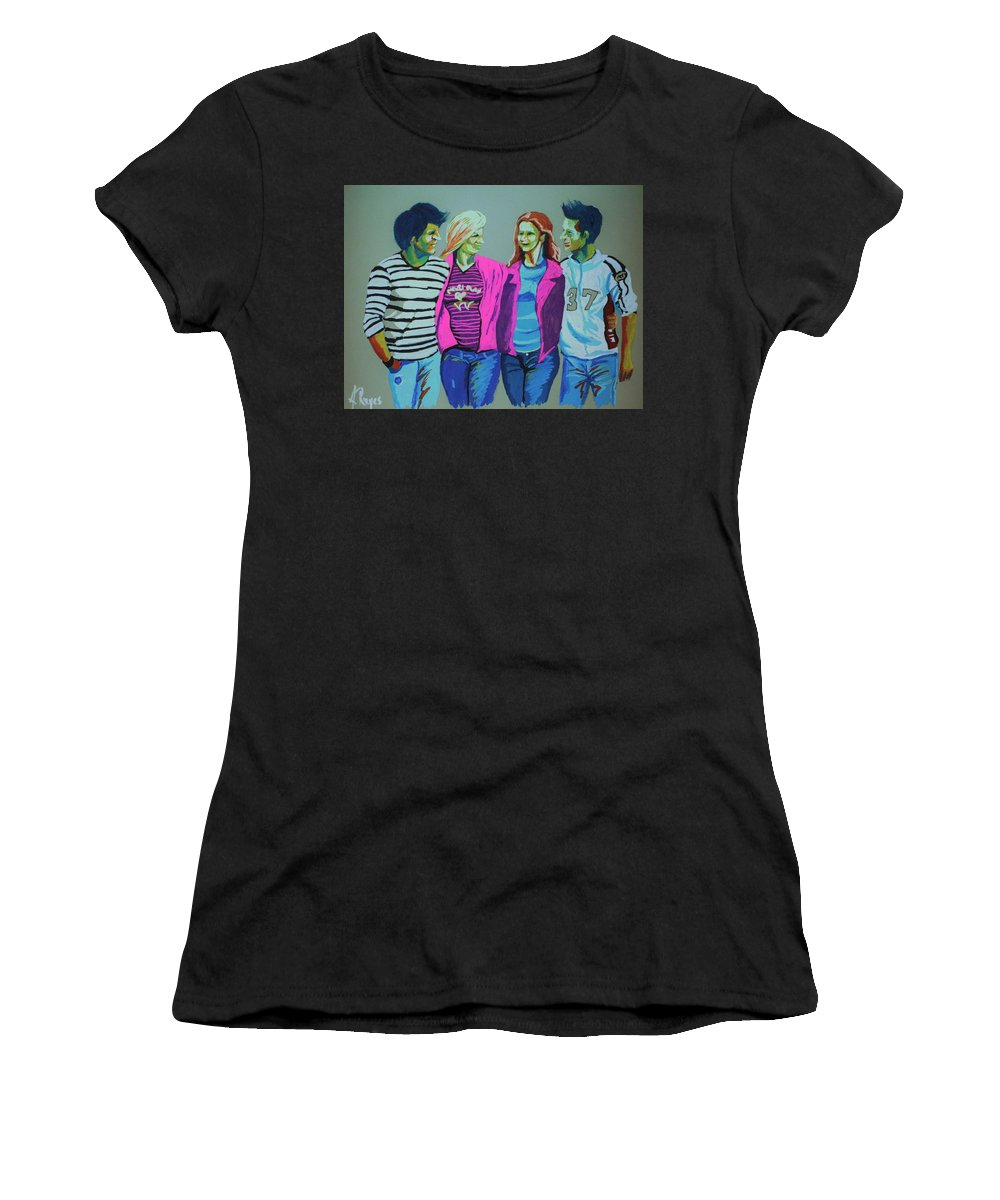 Group Women's T-Shirt (Athletic Fit) featuring the painting Having Fun by Angel Reyes