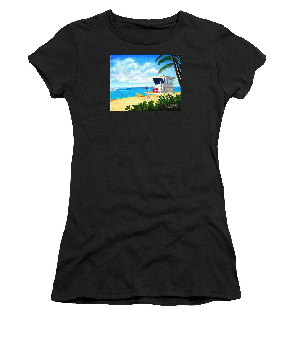 Hawaii Women's T-Shirt featuring the painting Hawaii North Shore Banzai Pipeline by Jerome Stumphauzer