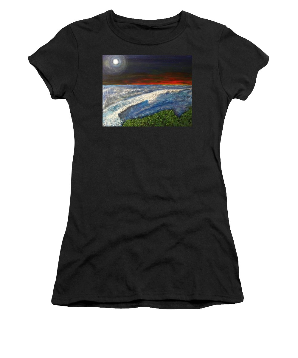 Beaches Women's T-Shirt (Athletic Fit) featuring the painting Hawiian View by Michael Cuozzo