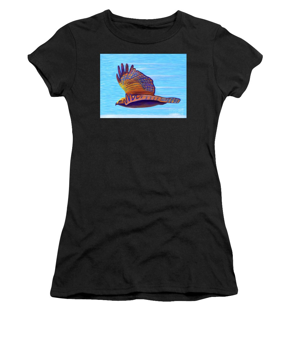 Hawk Women's T-Shirt (Athletic Fit) featuring the painting Hawk Speed by Brian Commerford