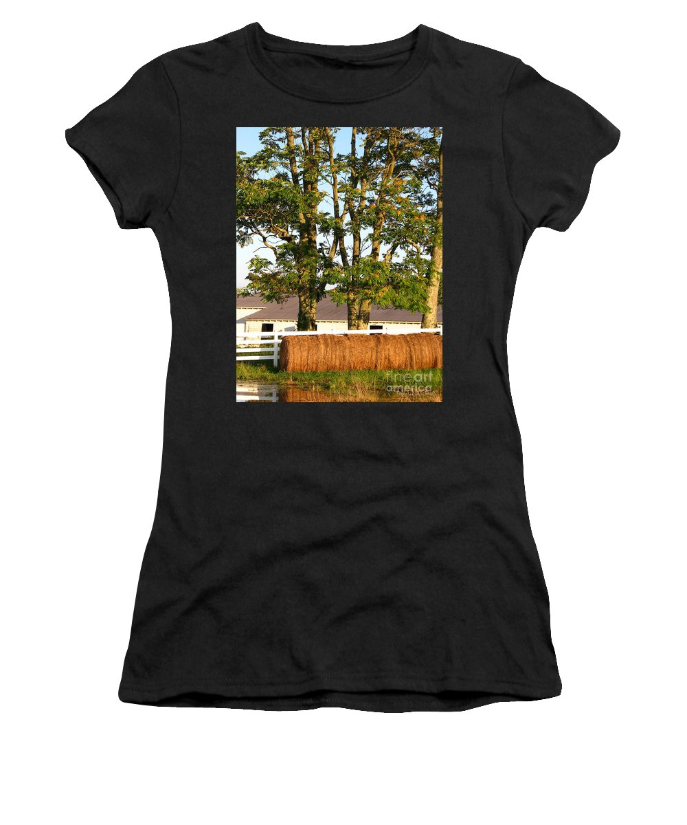 Landscape Women's T-Shirt (Athletic Fit) featuring the photograph Hay Bales And Trees by Todd Blanchard