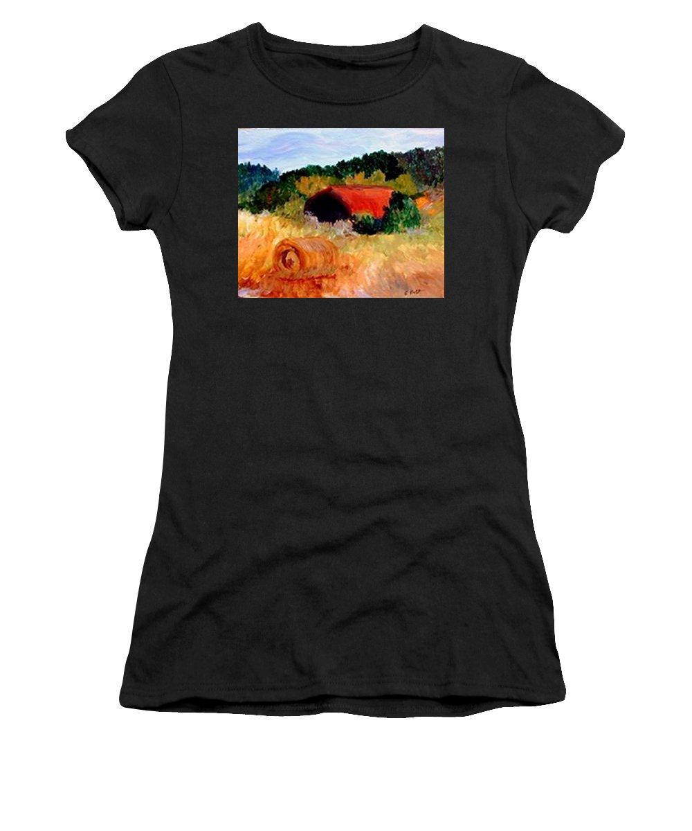 Hayrolls Women's T-Shirt (Athletic Fit) featuring the painting Hayrolls by Gail Kirtz