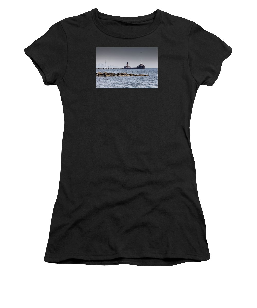 Boating Women's T-Shirt (Athletic Fit) featuring the photograph Hazy Toronto by Phill Doherty