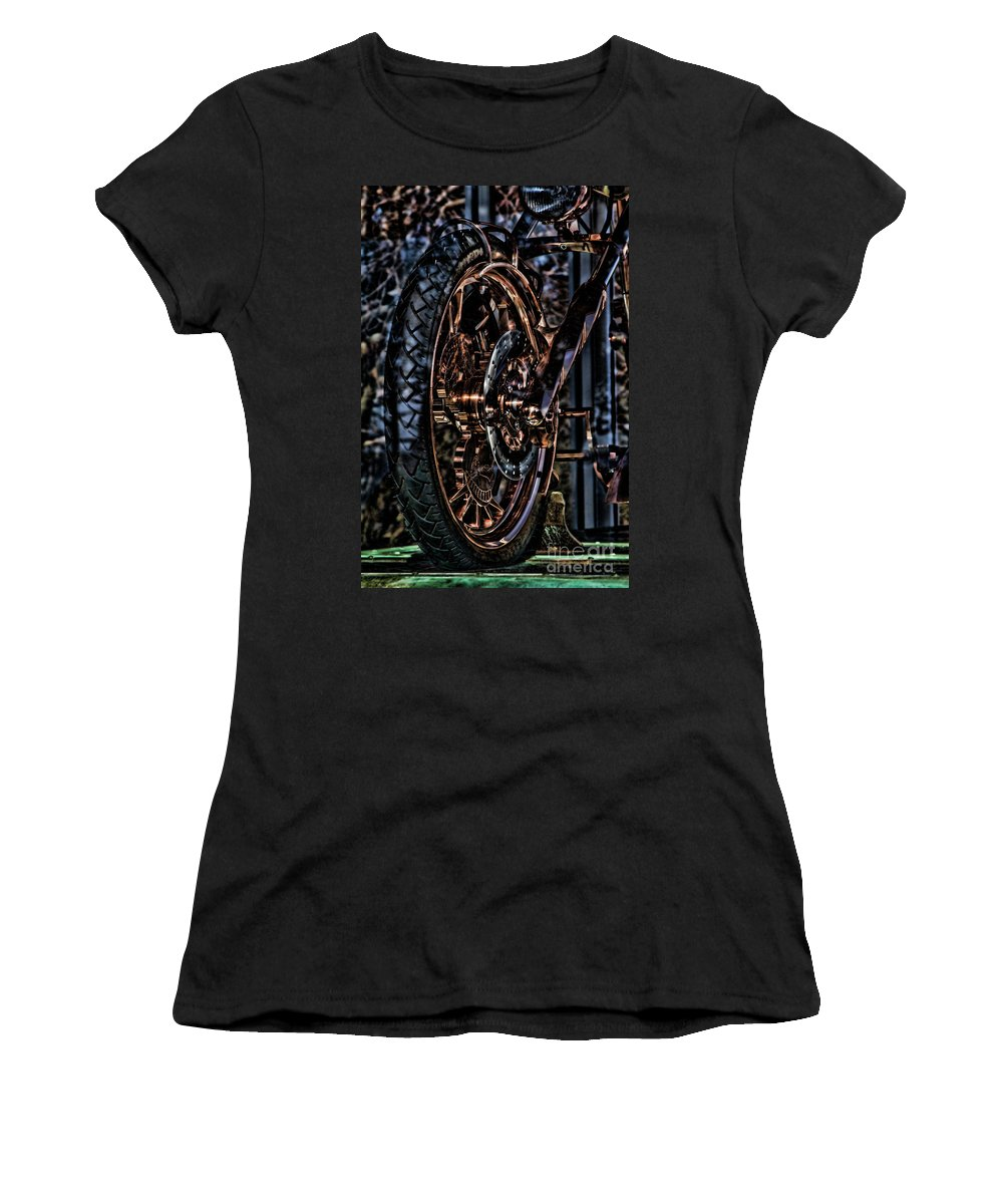 Liberty Bike Women's T-Shirt (Athletic Fit) featuring the photograph Hdr Liberty Bike Copper Ny by Chuck Kuhn