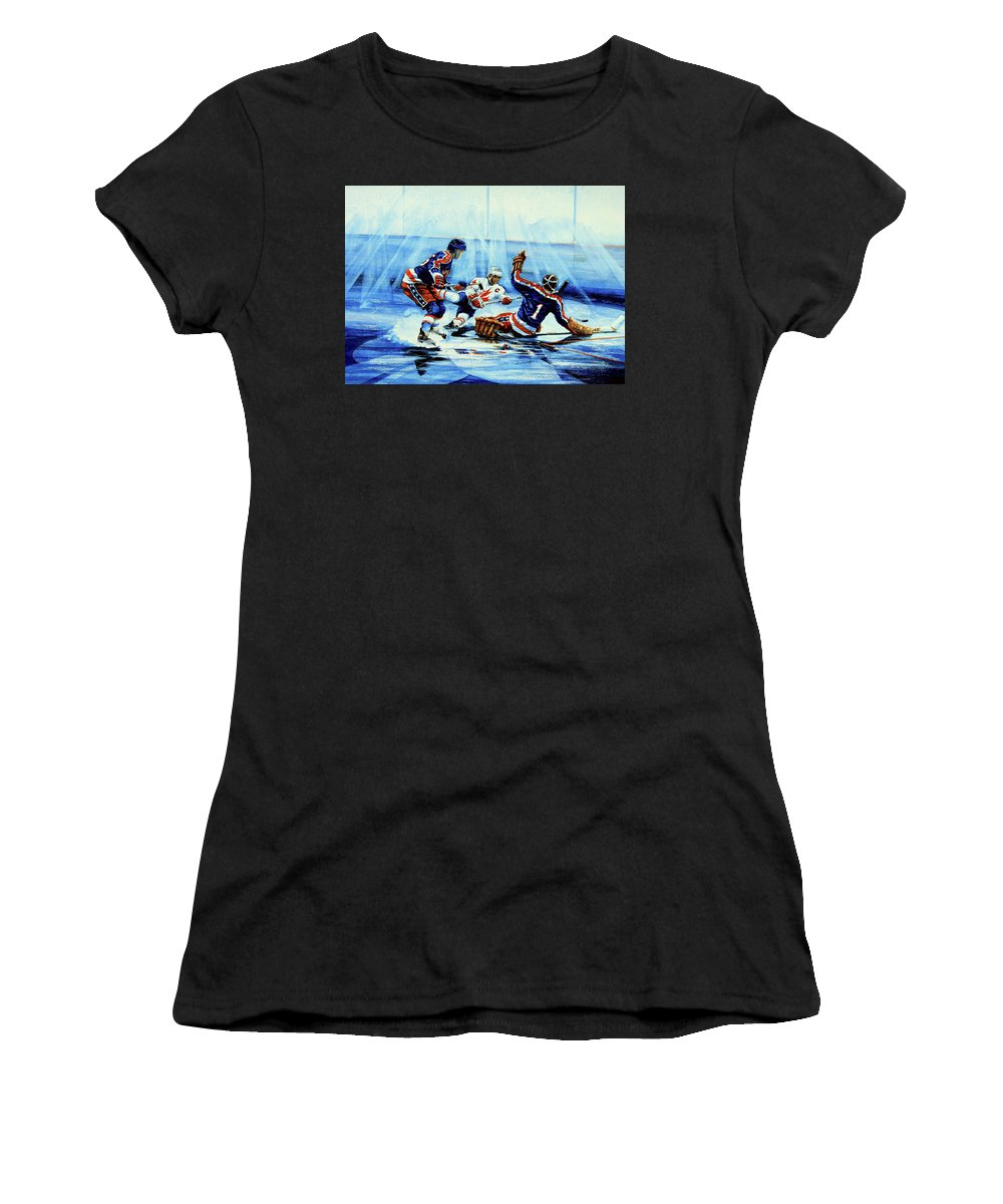 Hockey Women's T-Shirt (Athletic Fit) featuring the painting He Shoots by Hanne Lore Koehler