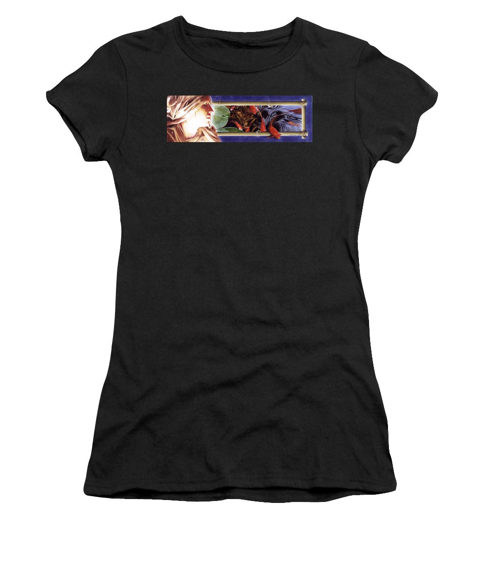 Portrait Women's T-Shirt featuring the painting Heads And Tails by Denny Bond