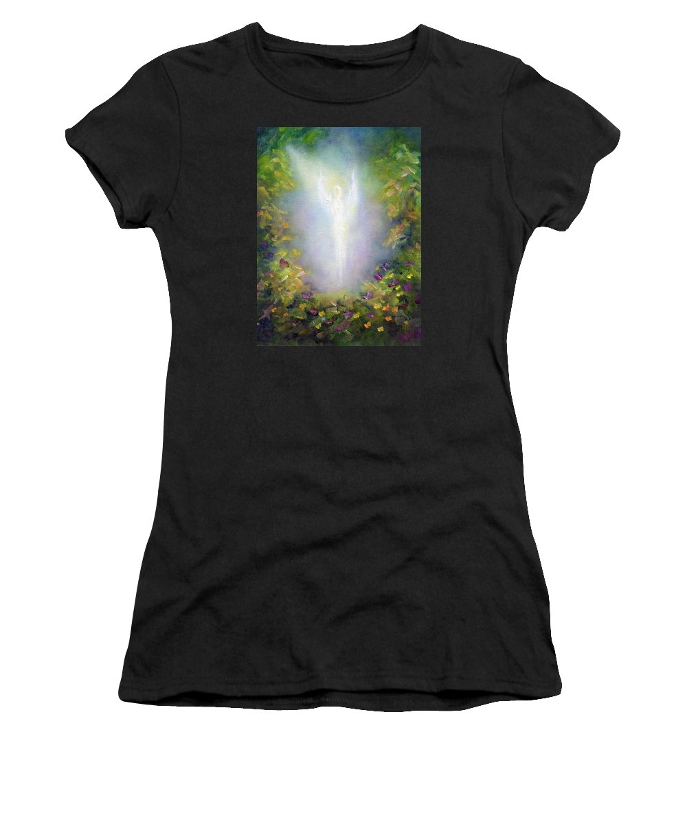 Angel Women's T-Shirt (Athletic Fit) featuring the painting Healing Angel by Marina Petro