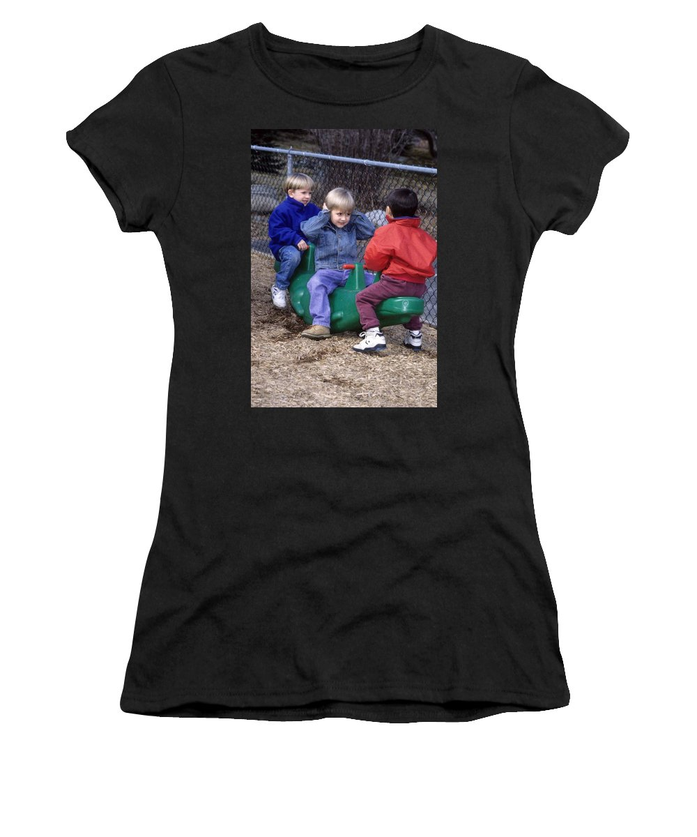 Children Women's T-Shirt featuring the photograph Hear No Evil See No Evil Speak No Evil by Laurie Paci