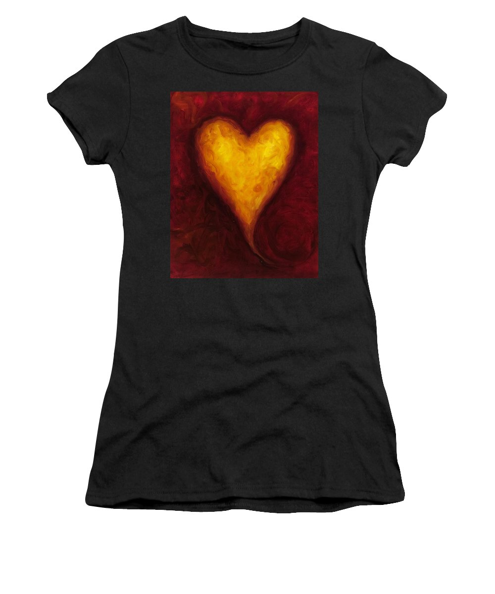 Heart Women's T-Shirt (Athletic Fit) featuring the painting Heart Of Gold 1 by Shannon Grissom