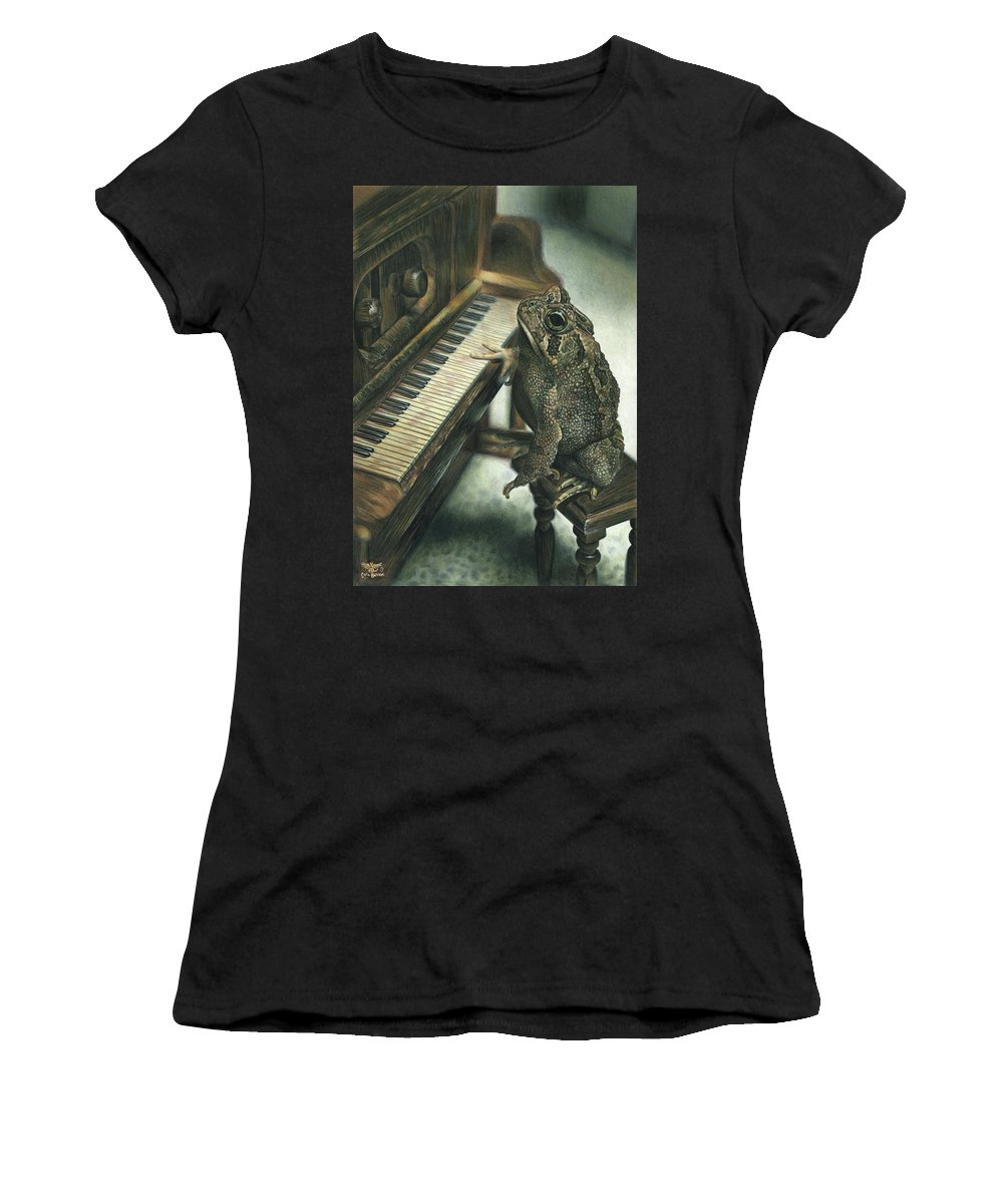 Heart Women's T-Shirt (Athletic Fit) featuring the drawing Heart Of The Symphony by Cara Bevan