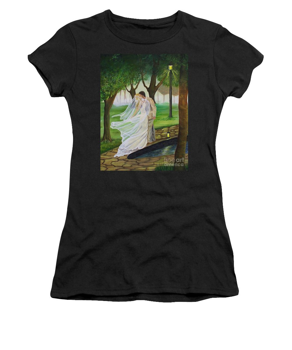 Bride And Groom Women's T-Shirt (Athletic Fit) featuring the painting Heart To Heart by Kris Crollard