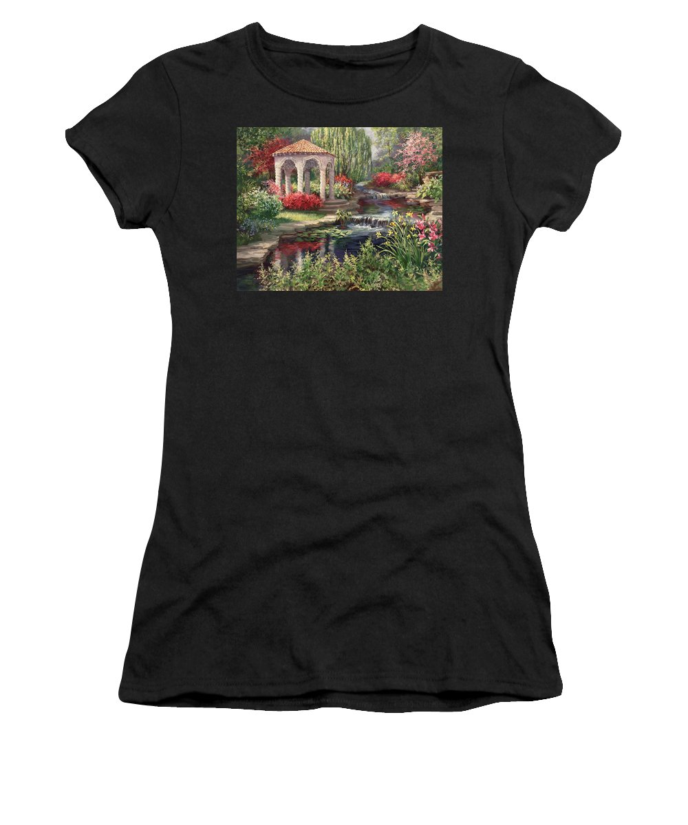 Landscape Women's T-Shirt featuring the painting Heaven's Garden by Laurie Snow Hein