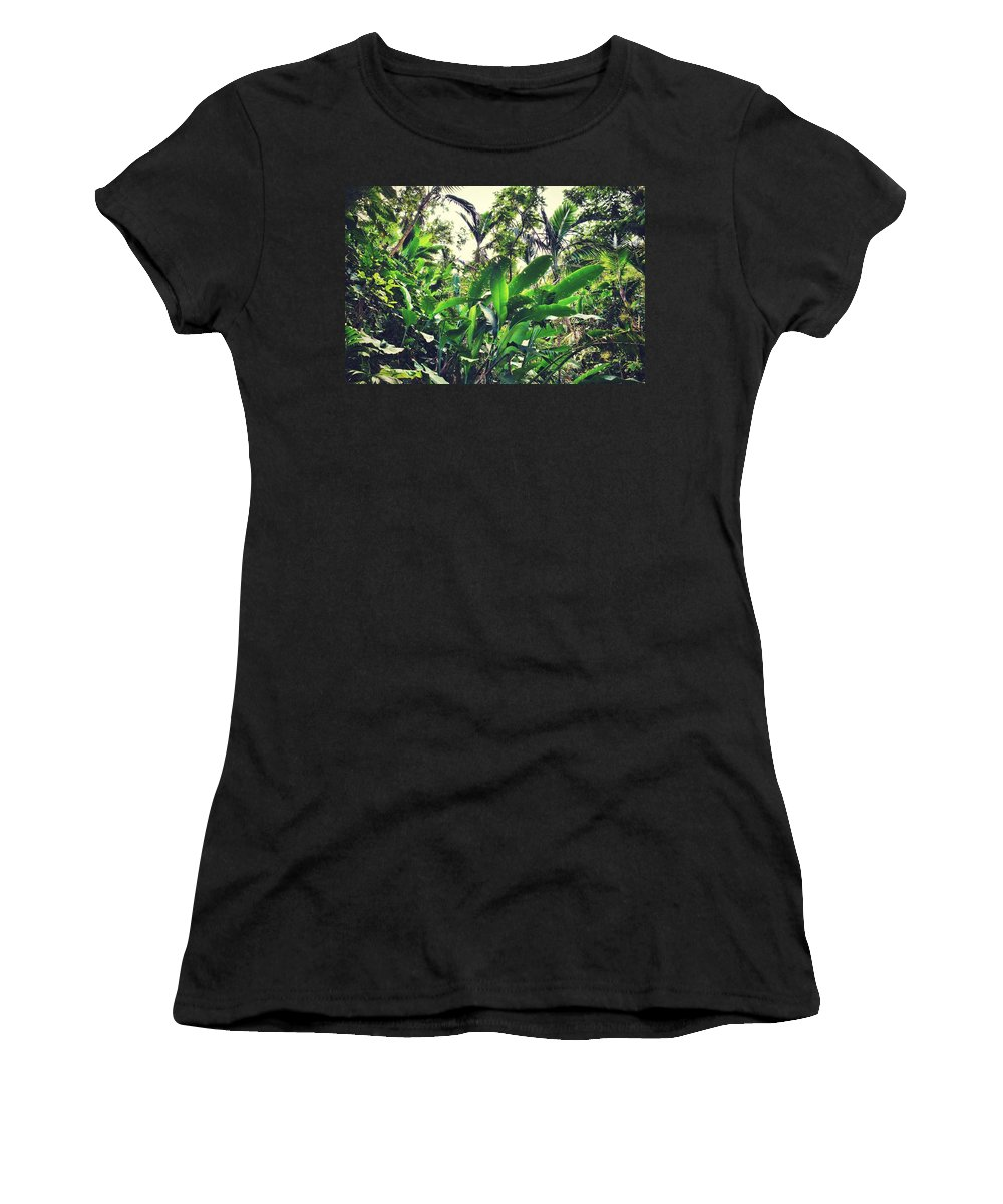 Saba Women's T-Shirt featuring the photograph Heliconia Cluster by Ingrid Zagers