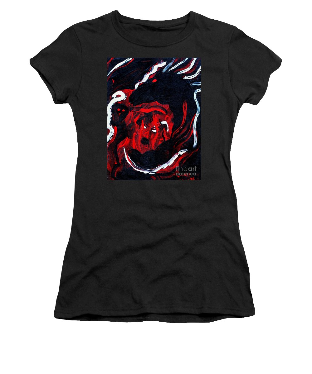 Horse Woman Red Black Silver Women's T-Shirt (Athletic Fit) featuring the painting Hell Beast by Dawn Downour