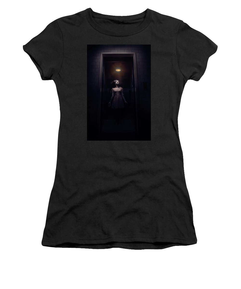 Women's T-Shirt featuring the digital art Hellivator by Clinton Lofthouse