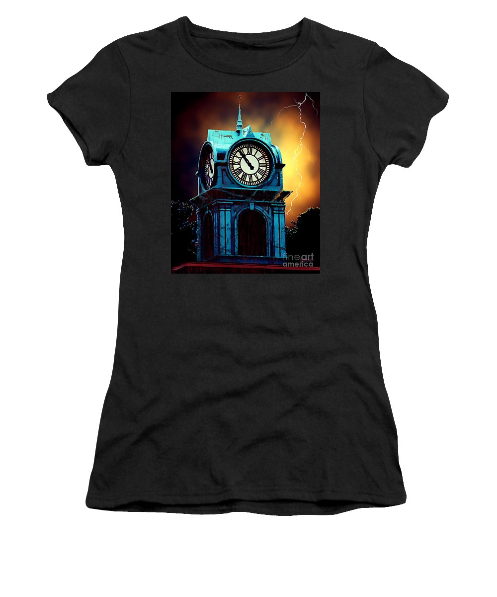 Blood Women's T-Shirt (Athletic Fit) featuring the painting Hells Timeclock by RC DeWinter