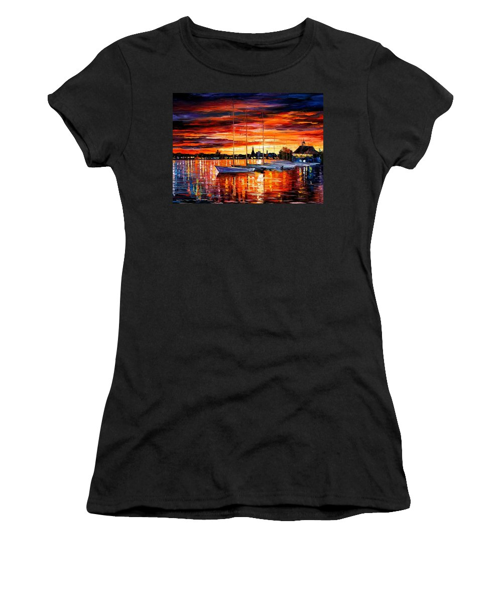 Afremov Women's T-Shirt (Athletic Fit) featuring the painting Helsinki - Sailboats At Yacht Club by Leonid Afremov