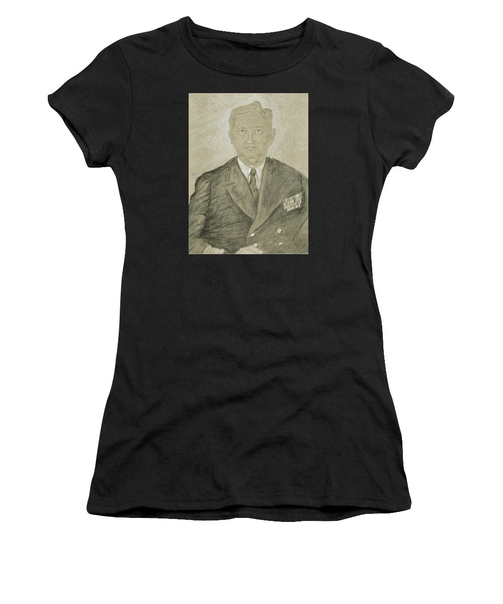 Henry K. Hewitt Women's T-Shirt (Athletic Fit) featuring the drawing Henry K. Hewitt by Dennis Larson
