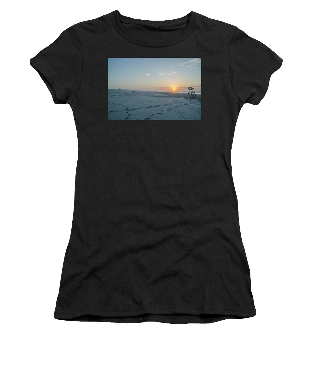 Here Women's T-Shirt (Athletic Fit) featuring the photograph Here Comes The Sun - Wildwood Crest by Bill Cannon