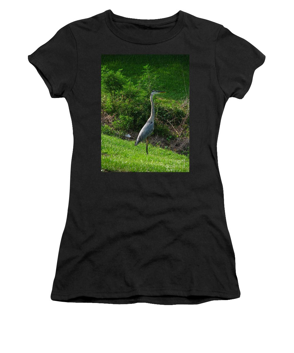 Patzer Women's T-Shirt (Athletic Fit) featuring the photograph Heron Blue by Greg Patzer