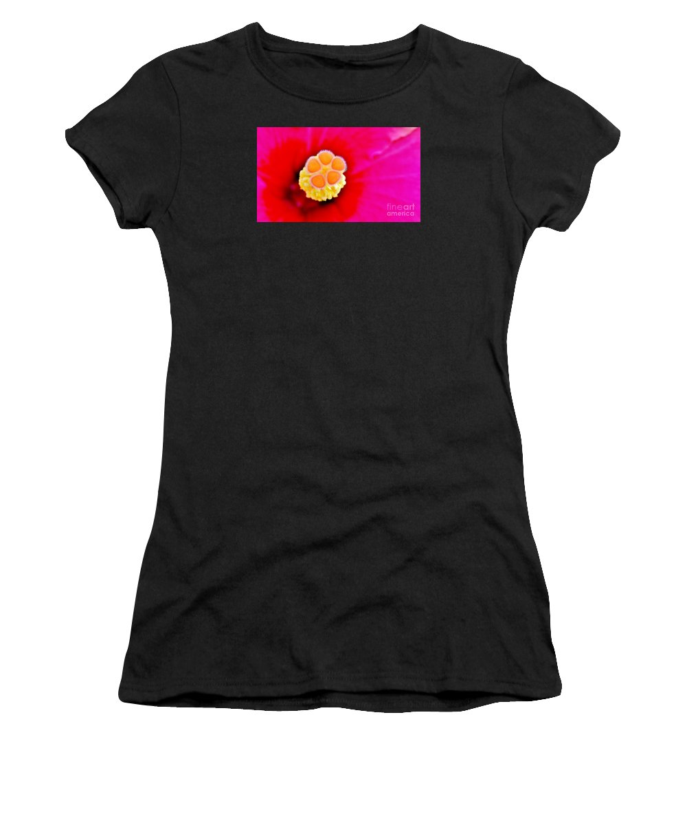 Tropical Floral Fusion Women's T-Shirt (Athletic Fit) featuring the photograph Hibiscus Glow by Lisa Renee Ludlum