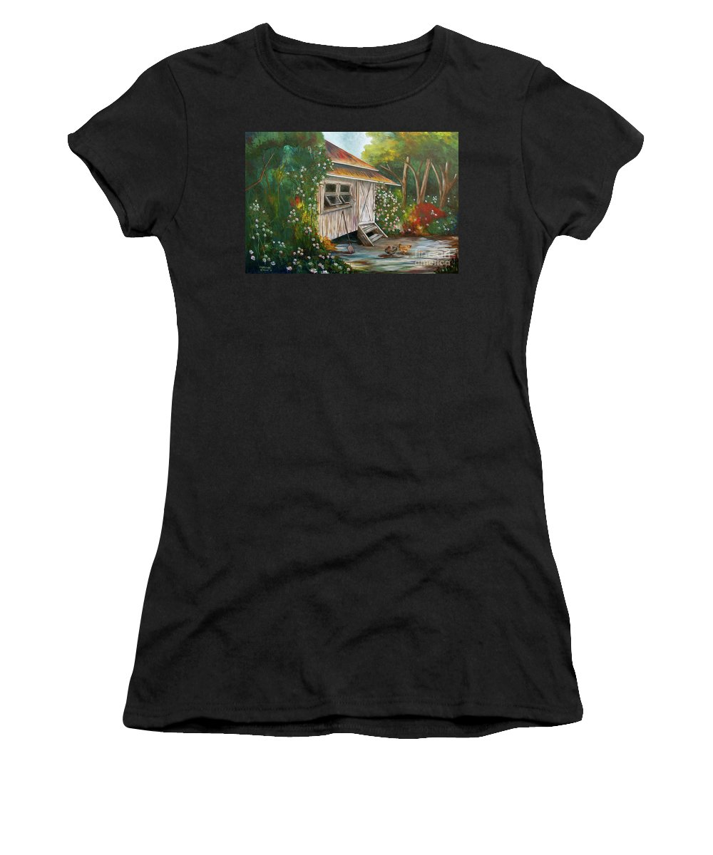 Plantation House Women's T-Shirt (Athletic Fit) featuring the painting Hidden Garden by Larry Geyrozaga