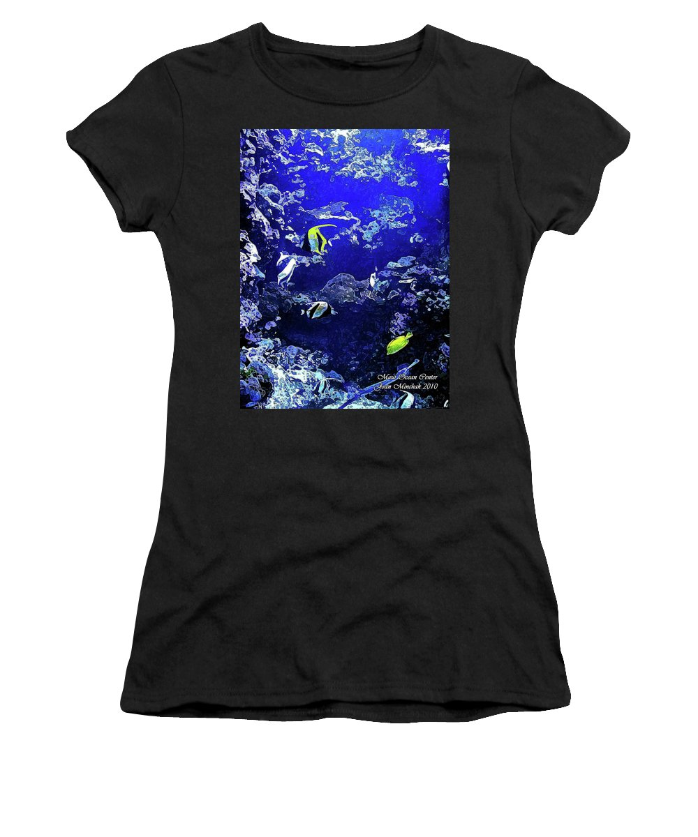 Aquarium Women's T-Shirt (Athletic Fit) featuring the digital art Hiding Fish by Joan Minchak