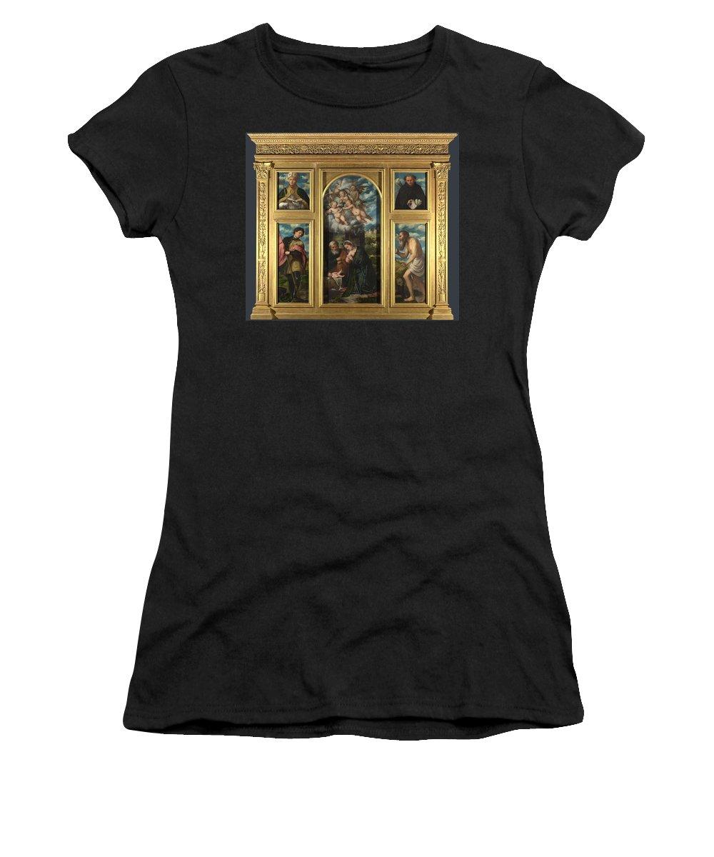Girolamo Women's T-Shirt (Athletic Fit) featuring the digital art High Altarpiece S Alessandro Brescia by PixBreak Art