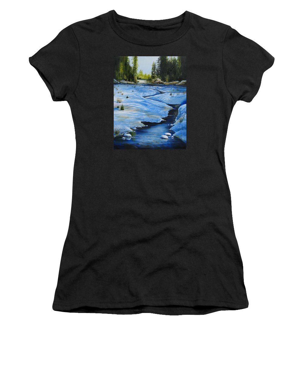 Landscape Women's T-Shirt (Athletic Fit) featuring the painting High Country by Karen Stark