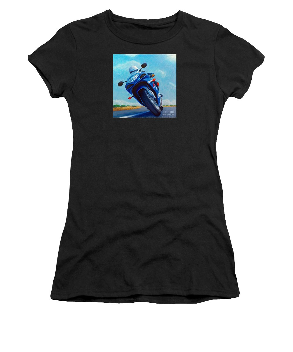 Motorcycle Women's T-Shirt (Athletic Fit) featuring the painting High Desert Pass - Suzuki Gsxr1000 by Brian Commerford