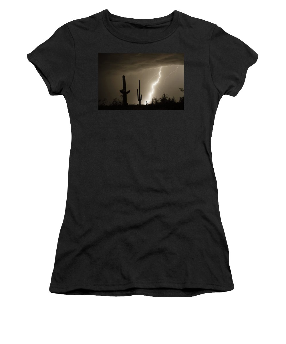Lightning Women's T-Shirt (Athletic Fit) featuring the photograph High Southwest Desert Lightning Strike by James BO Insogna