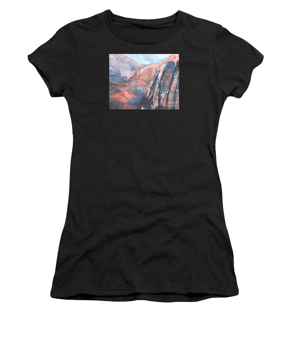 Landscape Women's T-Shirt (Athletic Fit) featuring the painting Higher Ground by Lynn Quinn
