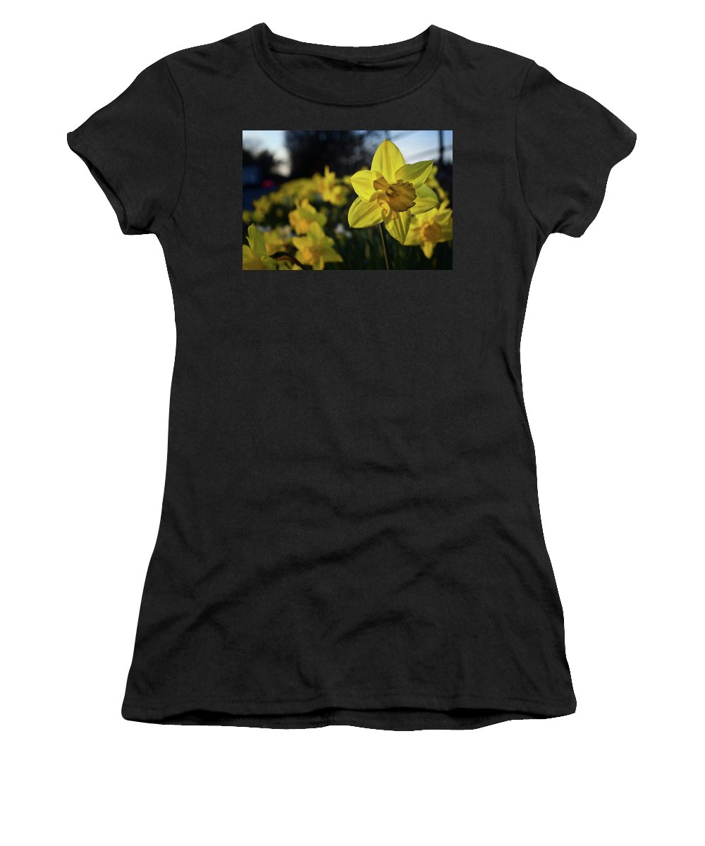 Daffodil Women's T-Shirt (Athletic Fit) featuring the photograph Highway Daffodil by Mark Hunter
