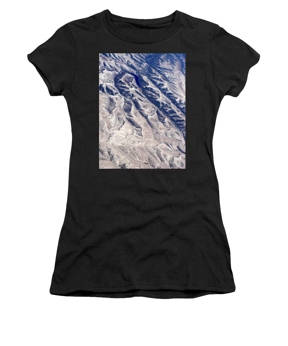 Aerial Women's T-Shirt featuring the photograph Hills And Valleys Aerial by Carol Groenen