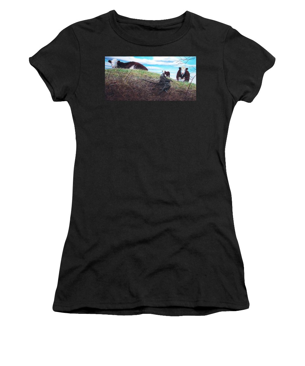 Steers Women's T-Shirt (Athletic Fit) featuring the painting Hillside Retreat by Denny Bond