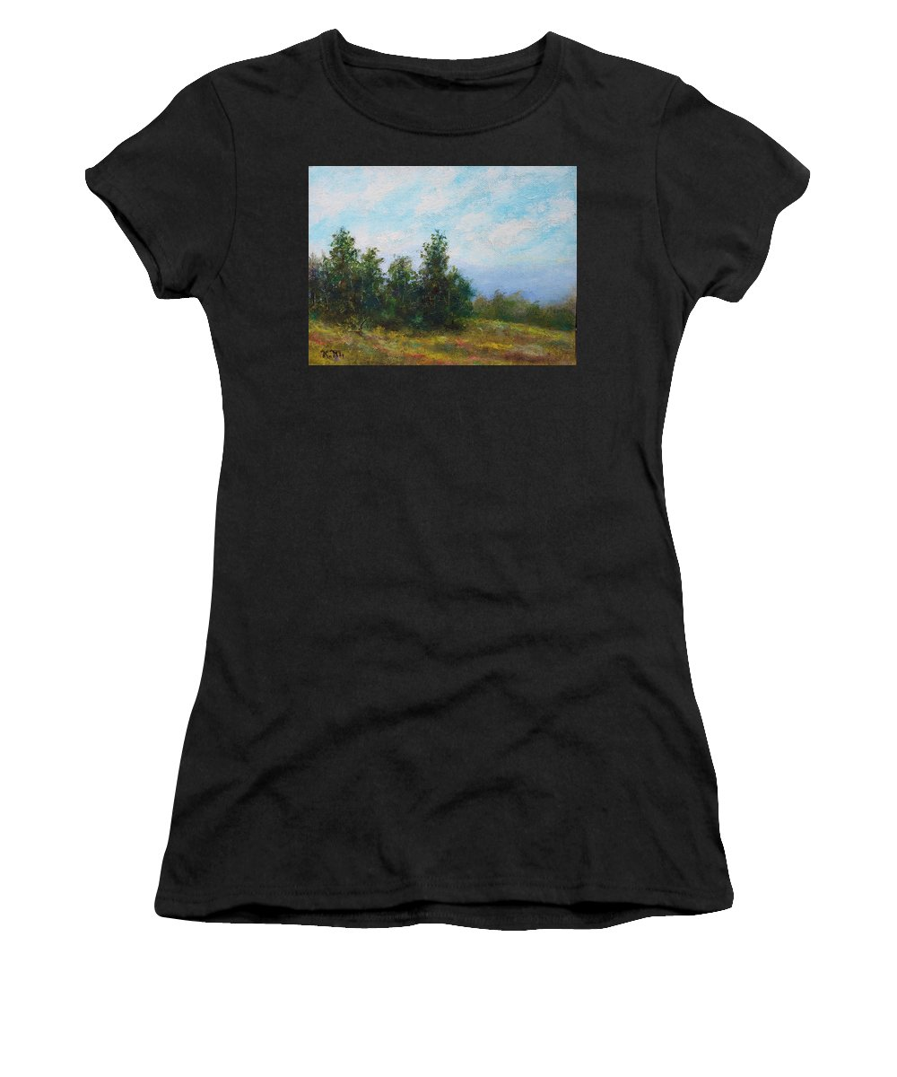 Tree Line Women's T-Shirt (Athletic Fit) featuring the painting Hilltop Trees by Kathleen McDermott
