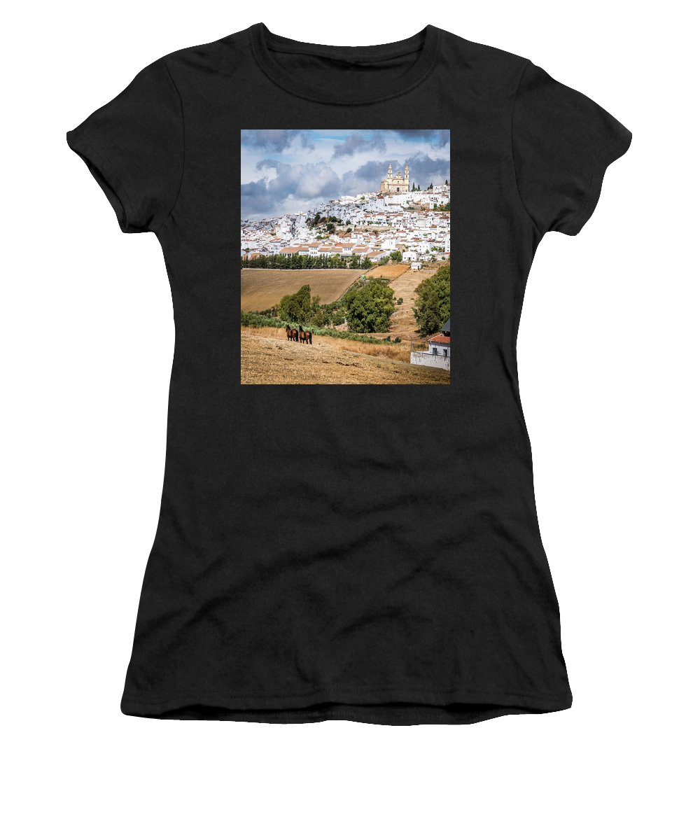 Andalucia Women's T-Shirt (Athletic Fit) featuring the photograph Hilltop Village Of Olvera by Michael Thomas