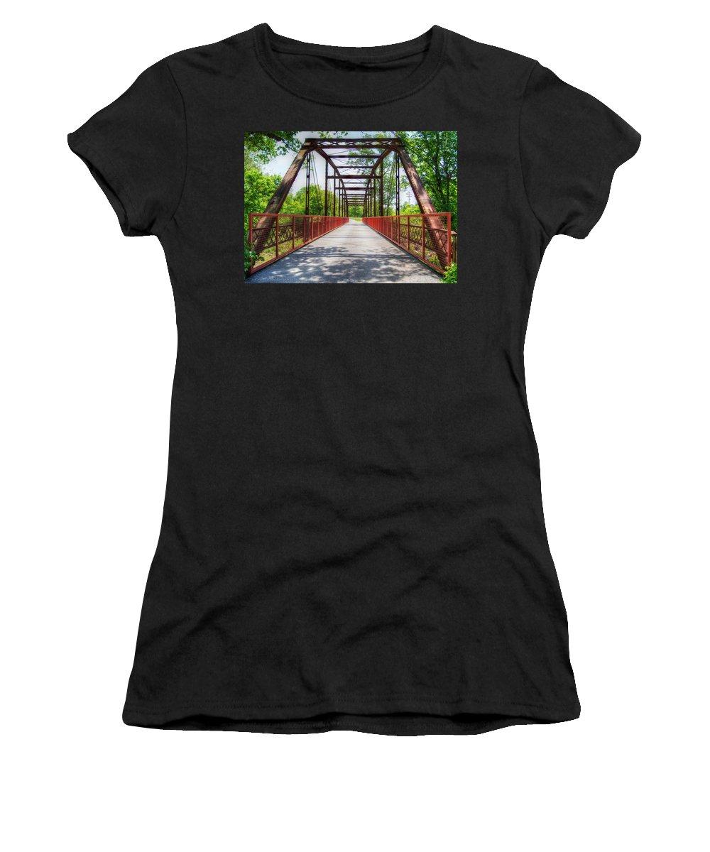 Bridge Women's T-Shirt (Athletic Fit) featuring the photograph Hinkson Creek Bridge by Cricket Hackmann